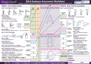 Rapid Upper Limb Assessment (RULA) Worksheet PDF Download